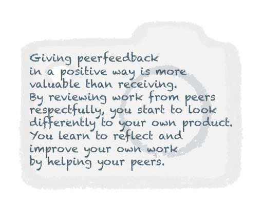 In workshops Visual Storytelling online peerfeedback is essential to keep the proces of learning together in continuation, also after the workshops are given.